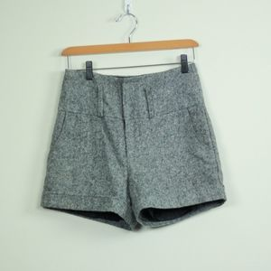 High Waisted Grey Tweed Shorts